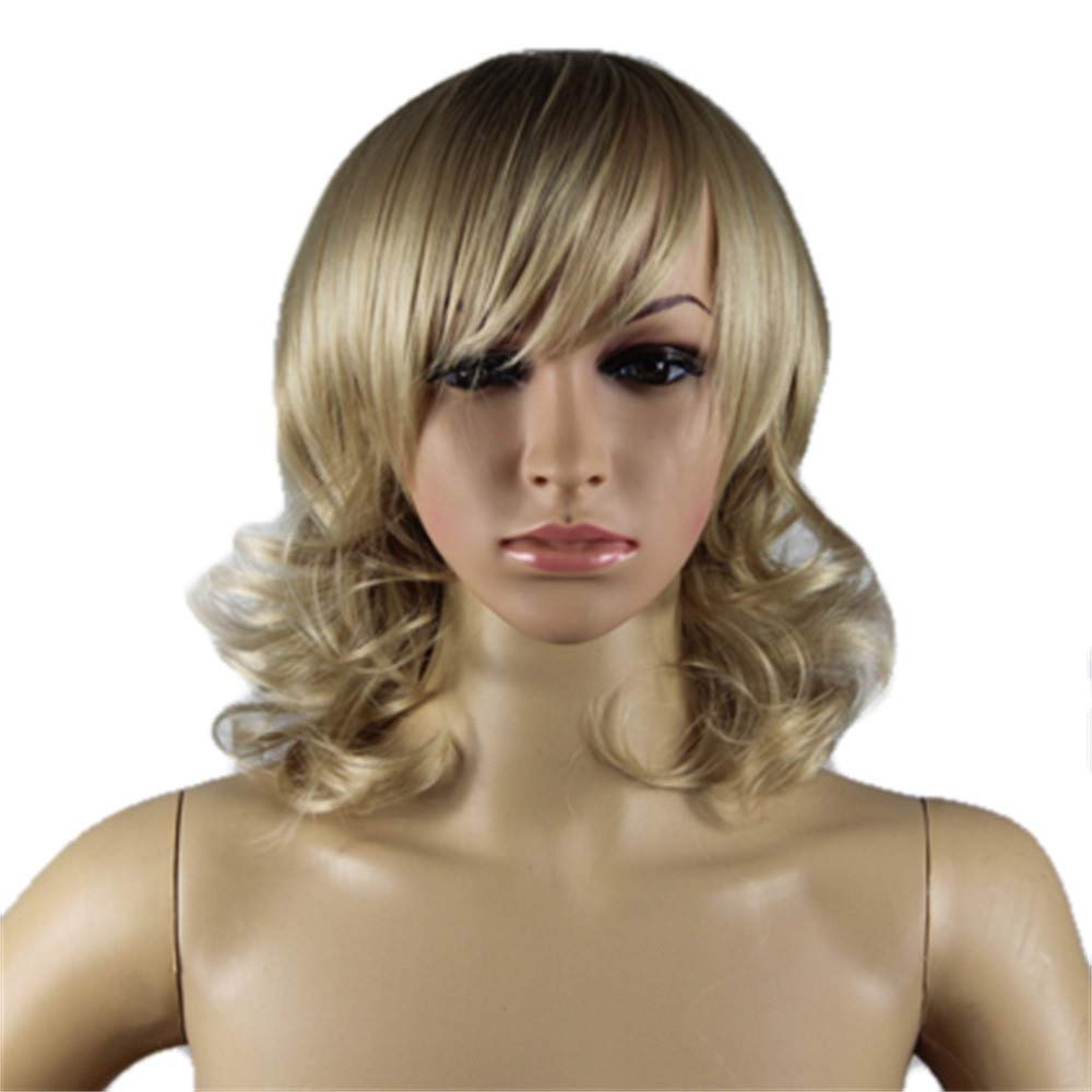 Blonde Synthetic Wigs Hair for Women Girls, Iuhan Women Natural Looking Hair Fashion Lace Front Wig Long Wavy Full Hair Wigs Party Cosplay (gold-short)