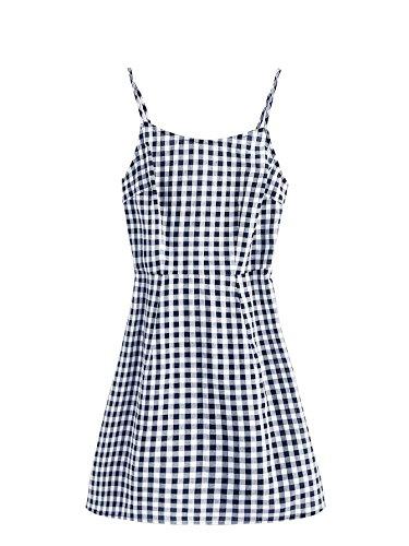 SweatyRocks Women's Spaghetti Strap Lace Up Back Casual Short Mini Gingham Dress (X-Small, Multi)