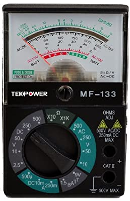 Tekpower TP133 Pocket-Size 5-Function 16-Range Analog Multimeter with 1.5V/9V Battery Tester