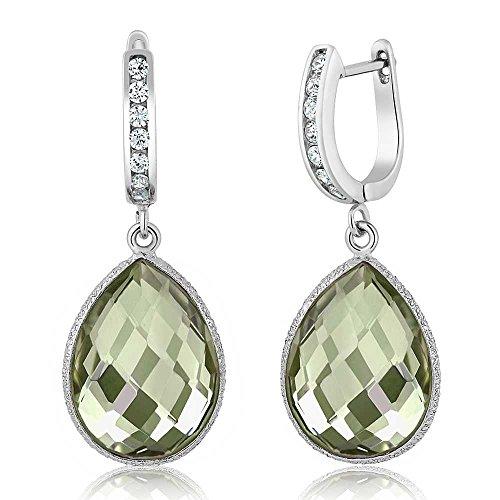 (Gem Stone King Gorgeous Green Amethyst 925 Sterling Silver Dangle Earrings (14.00 cttw, 16X12MM Pear Shape))