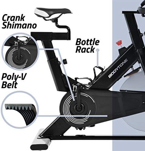 BT BODYTONE - DS-20 - Bicicleta Estática Semi Profesional de Ciclo Indoor para Fitness y Spinning - Regulador de Resistencia y Display - Materiales de Primera Calidad - Peso Máximo Usuario 100