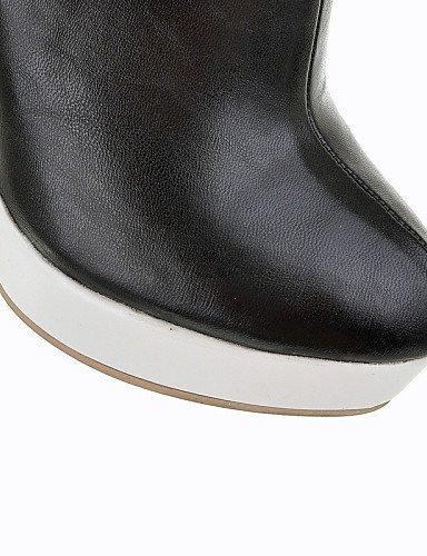 Cerrada Redonda Vestido Tacón Trabajo De White Punta negro Mujer Stiletto Cn39 Sintético Zapatos Cuero us8 Casual Black Eu39 Y us8 Botas Uk6 Xzz Oficina qYP7f0c