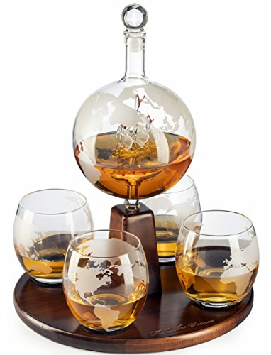Etched World Decanter Globe Decanter, with Antique Ship and 4 World Map Glasses by The Wine Savant, Great Gifts for Dad, Boyfriend or Anyone! by The Wine Savant
