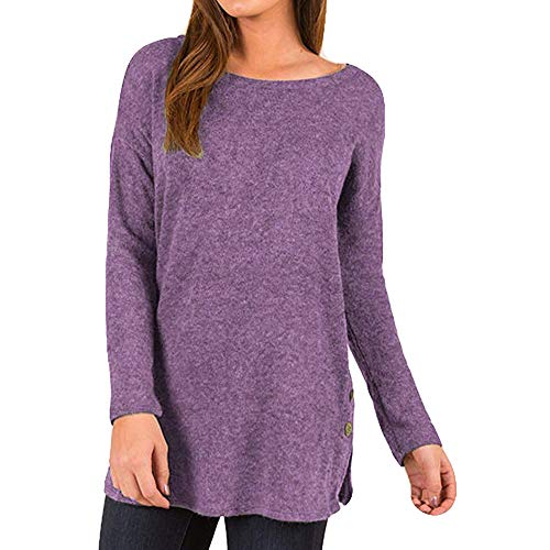 Sunyastor Women's Casual Shirt Long Sleeve Solid T Shirts Knot Tunics Tie Knot Henley Tops Bat Sleeve Loose Pullover Blouses