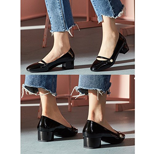 YQQ Chaussures Féminines Sandales D'été Talons Bas Rétro Littérature Et Art Tête Ronde Sauvage Perle Confortable Joli (Couleur : Rose, taille : EU36/UK4) Noir