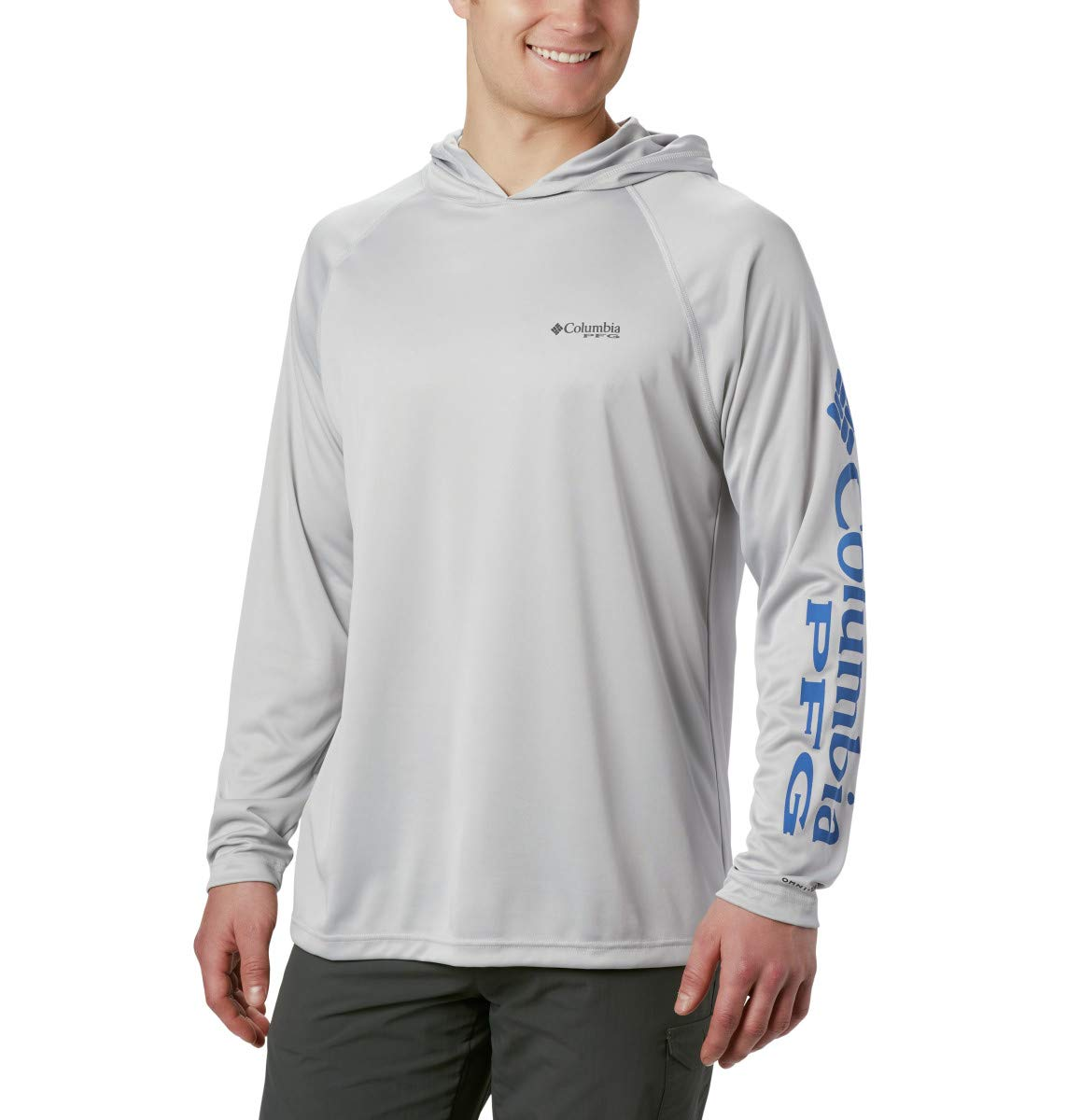 Columbia Men's Standard Terminal Tackle Hoodie, Cool Grey, Vivid Blue Logo, Large by Columbia