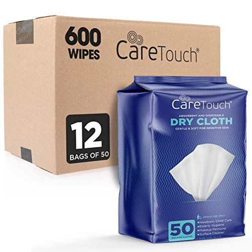 Care Touch Dry Cleaning Cloth Wipes - 600ct Disposable Washcloths for Baby & Adult, Ultra Soft Cleansing Wipes for baby wipes, incontinence care, removing makeup & cleaning surfaces (12 Packs of 50ct) - Incontinence Care Washcloths