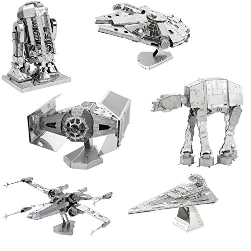 Vaders Tie Fighter Star - Metal Earth 3D Model Kits Star Wars Set of 6 Millennium Falcon - R2-D2 - X-Wing Starfighter - AT-AT - Darth Vader's TIE Fighter - Imperial Star Destroyer