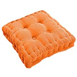 Dasior Thicken Solid Indoor Outdoor Chair Seat Cushion,Square Floor Pad Cushion for Home Office Dinning Orange
