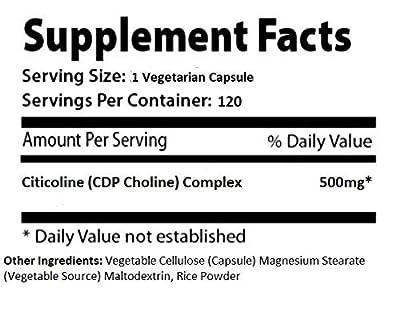 Absonutrix Citicoline CDP Choline Complex Supplement 500 mg 120 100% Vegetarian caps
