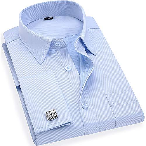 BINJUEMENS Mens French Cuff Regular Fit Long Sleeve Spread Collar Dress Shirt with Cufflinks(Blue, 16.5