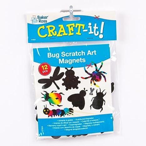 Lot de 12 Mat/ériel cr/éatif pour Enfants et Adultes Baker Ross D/écorations Insectes /à gratter aimant/ées