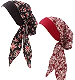 Ababalaya Women's Elegant Soft Floral Polka Dots Long Tail Bandana Turban Chemo Beanie,Black+Burgundy