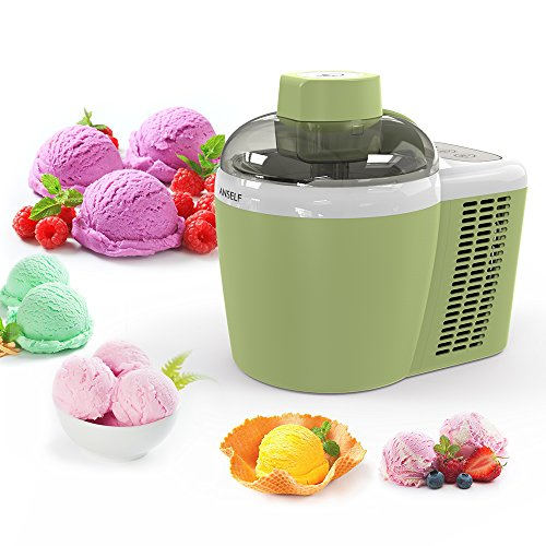 Anself 1pint Household Electric Fruit Ice Cream Machine Automatic Ice Cream Maker Green 600ml With Built-in Cooling System
