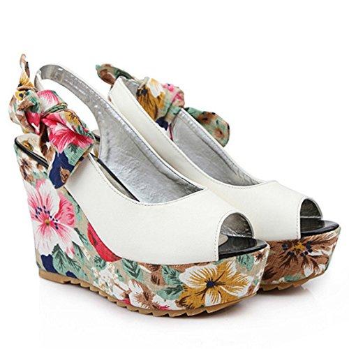 Enfiler Mode A Femme Hauts Sandales blanc TAOFFEN Fleur Talons Peep Toe Compenses 757 xqfYx56X