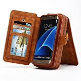 S7 Edge Case, Zeato Premium Leather Zipped Case [Makeup Mirror Wallet] [Magnetic Detachable] Hand Strap Purse Back Flip Multi Card Slots Cash Pocket Case Cover for Samsung Galaxy S7 Edge - Brown
