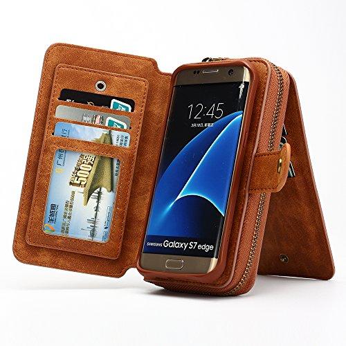 S7 Edge Case, Zeato Premium Leather Zipped Case [Makeup Mirror Wallet] [Magnetic Detachable] Hand Strap Purse Back Flip Multi Card Slots Cash Pocket Case Cover for Samsung Galaxy S7 Edge - Brown by Zeato