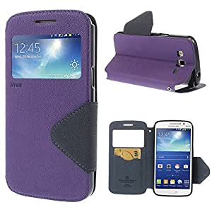 JUJEO Diary Cross Leather Card Holder Stand Window View Shell Cover for Samsung Galaxy Grand 2 SM-G7100 SM-G710S - Non-Retail Packaging - Purple