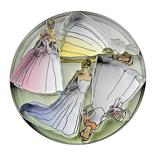 Set of 4 - Bridal Cookie Cutters, Wedding Gown Shapes, Round Storage Tin - #1814
