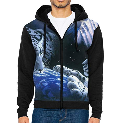 - LXP FZD Mens Space Leopards Fashion Hoodies Funny Jacket Print Zipper Sweatshirts Jumper Black