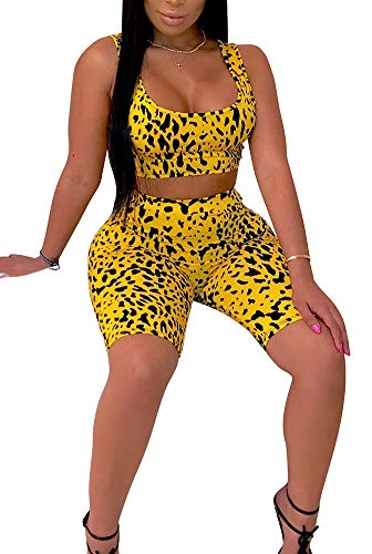 Womens Sexy Snakeskin Bodycon Tracksuit 3 Pieces Outfit Crop Top Tank + Capri Pants Romper Jogger Set Yellow