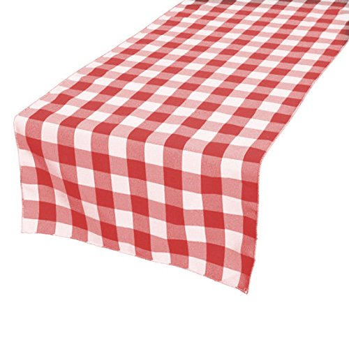 GFCC 100% Polyester Checkered Table Runner, Red and White, 14 x -
