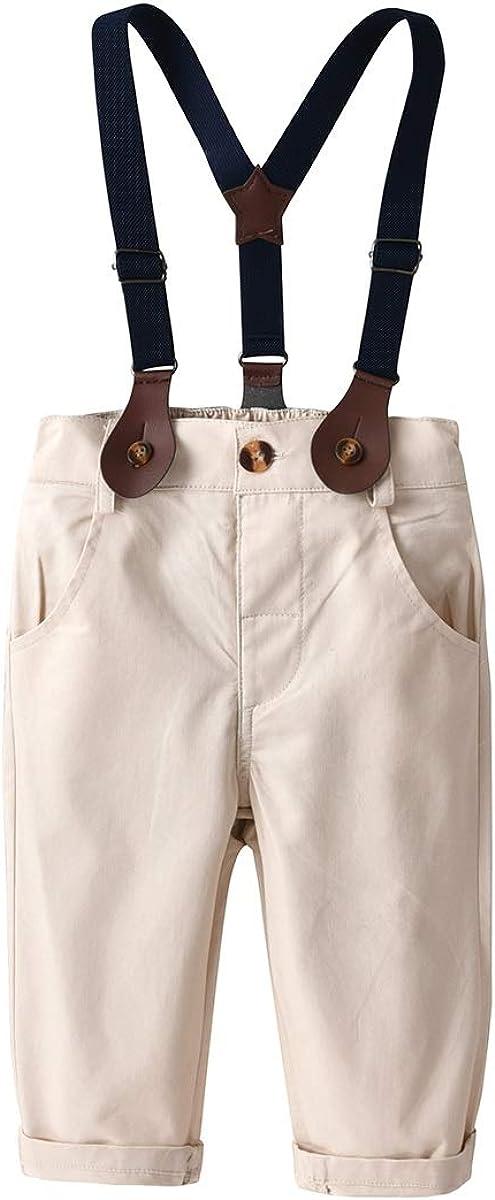 Boys Kids Toddler Gentlemen Suit Bowtie Stripe Shirt+Suspender Pants Clothes Set