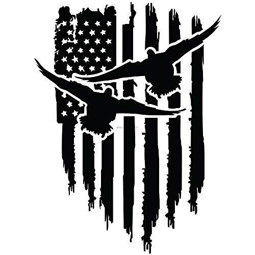 (Geese Duck Flying Hanging American Flag Vinyl Decal Hunter Hunting Shotgun Car Truck Window Bumper Sticker Choose Size and Color (11x8.2, White))
