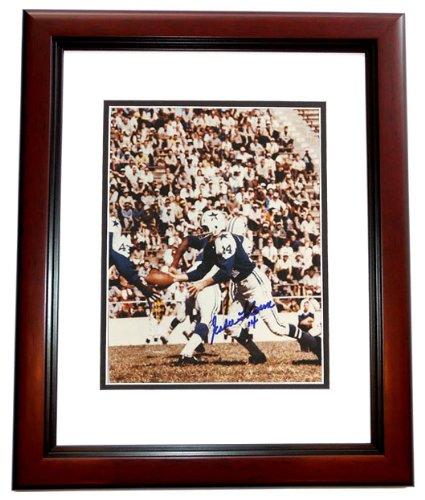 Eddie LeBaron Signed - Autographed Dallas Cowboys 8x10 inch Photo MAHOGANY CUSTOM FRAME - Guaranteed to pass PSA or JSA from Real Deal Memorabilia