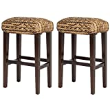 Best Choice Products BCP Set of (2) Hand Woven Seagrass Bar Stools Mahogany Wood Frame Bar Height