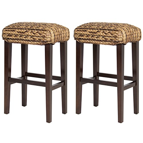 Best Choice Products BCP Set of (2) Hand Woven Seagrass Bar Stools Mahogany Wood Frame Bar Height (Seagrass Stool)