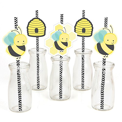 Big Dot of Happiness Honey Bee Paper Straw Decor - Baby Shower or Birthday Party Striped Decorative Straws - Set of 24