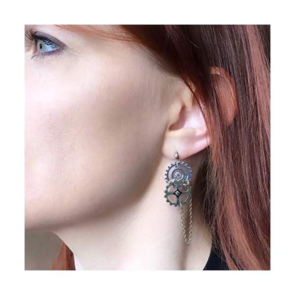 Steampunk Jewelry: Halloween Statement Earrings Gears Mixed Metal 4