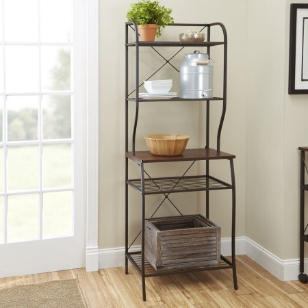 Mainstays Mixed Material 5 shelves Baker's Rack, Hammered Bronze Metal with Mahogany Wood Finish