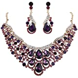 EVER FAITH Women's Rhinestone Crystal Gorgeous Teardrop Wave Necklace Earrings Set Purple Gold-Tone