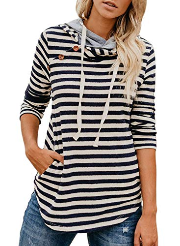 Women's Striped Long Sleeve Double Hooded Sweatshirts Button Drawstring Pullover Hoodie Tops Casual Blouse with Pocket Blue S 4 6 - Hooded Double Pockets