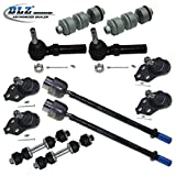 DLZ 12 Pcs Kit-2 Front Upper 2 Lower Ball Joints, 2 Inner 2 Outer Tie Rod Ends, 2 Front 2 Rear Sway Bar Links for 1985-1993 Cadillac DeVille , 1985-1992 Cadillac Fleetwood FWD, 1992-1999 Oldsmobile 88