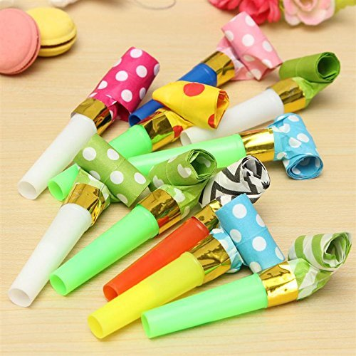 50 Packs music Blowouts Whistles Toys for Birthday Party Fav