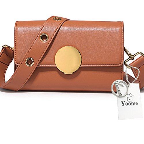 Yoome bolso circular retro de la aleta del anillo para fechar el bolso puro del sobre de las correas de Crossbody del color puro - CreamPink marrón