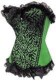 Alivila.Y Fashion Sexy Lace Brocade Corset Bustier Shapewear 2714-Green-XL