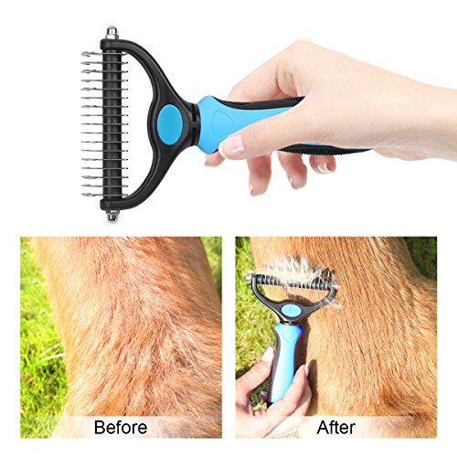 Dematting Comb Double Sided Pet Grooming Tools Dog Deshedding Brush Stainless Steel Pets Undercoat Rake for Long Short Hair Cats Dogs by PetGuard (Image #2)