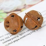 WSSROGY 24 Pcs Rusty Jingle Bells Hollow Star Bells for Christmas Home Party Decoration