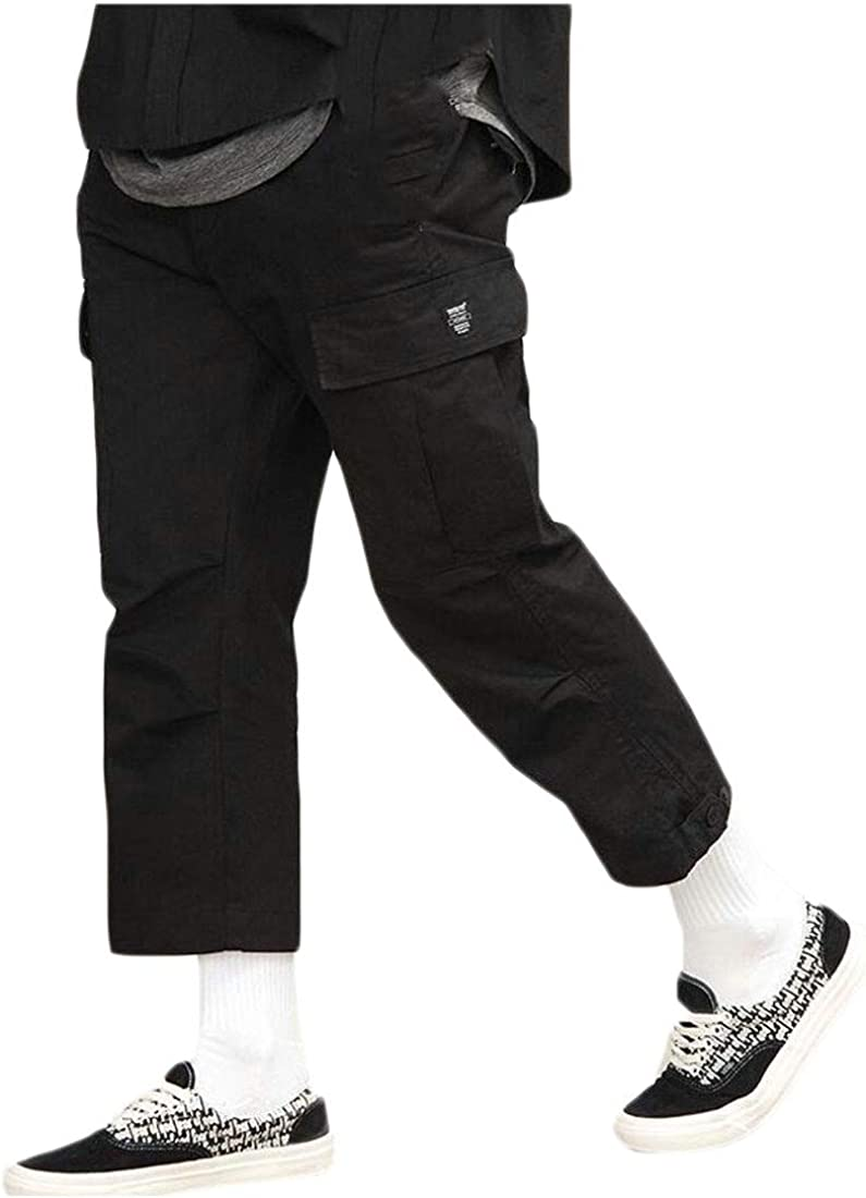 YULEgowinner Men Fitness Cargo Multi Pockets Trousers Pure Color Pants