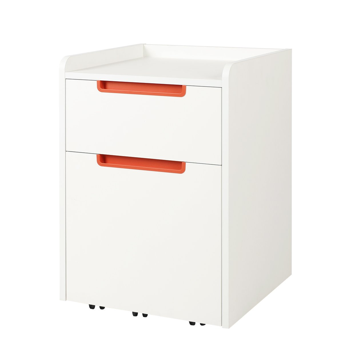 DEVAISE A4 Mobile 2 Drawers Filing Cabinet/Pedestal; Wood, White (Blue F-Handle)