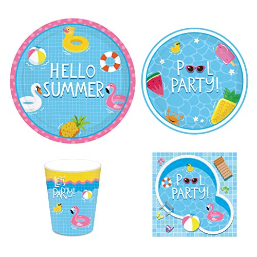 CC HOME Summer Tropical Party Supplies -Summer Pool Beach Party Supplies Pack- Serves 16 - Includes Plates,Cups and Napkins for Hawaiian Luau Birthday and Summer Parties Supplies Favor,Blue]()