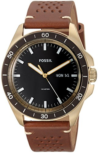 Fossil Men's FS5320 Sport 54 Three-Hand Day-Date Light Brown Leather Watch -  Fossil Watches