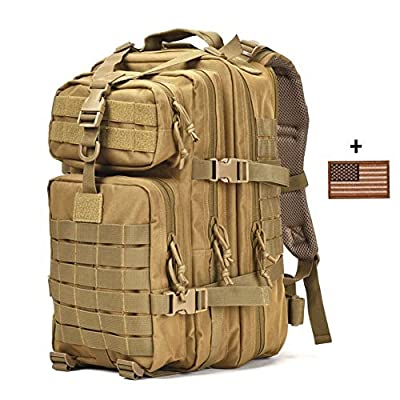VVEFFO Small Military Tactical Backpack 3 Day Assault Pack Army Molle Bug Out Bag Backpacks Hunting Rucksacks 34L Tan