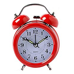 Volwco Twin Bell Alarm Clock for Heavy Sleepers, Loud Old Fashioned Retro Alarm Clock Battery Operated with Night Light, Mute and Non Ticking, Glow in The Dark, Ideal Gift for Girls Boys