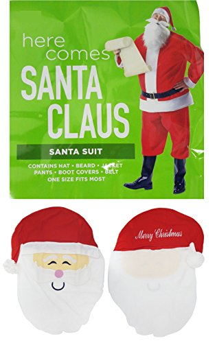 JCCentral Best Santa Claus Costume & Special Chair Back Set Women Men One Size Fits Most Adults Fun Silly Holiday Party Supplies Entertaining ST. Nick (Santa Claus Costume Set) -