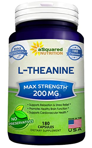 Pure L-Theanine 200mg Supplement - 180 Capsules - L Theanine to Support Relaxation, Focus, Stress Relief & Sleep - Powerful When Paired With Coffee / Caffeine - Extra Strength Pills